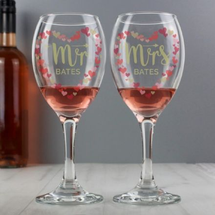 Personalised Mr and Mrs Confetti Hearts Pair of Wine Glasses